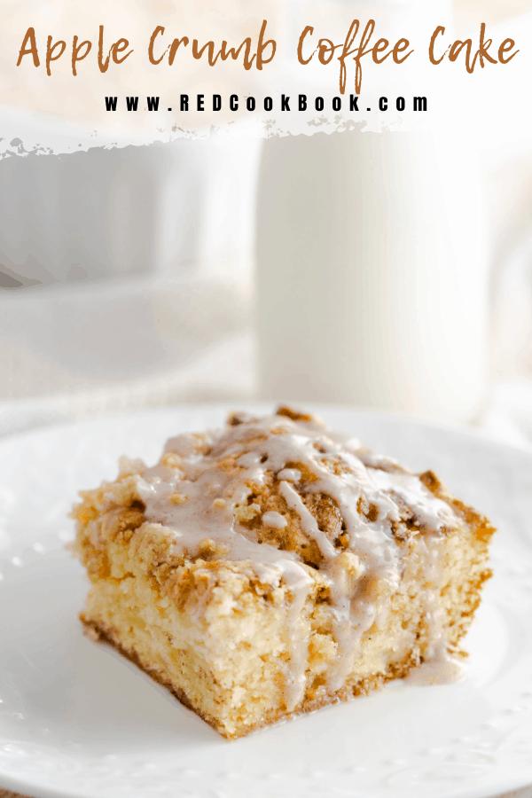 Moist and flavorful apple crumb coffee cake topped with an apple, oatmeal, and brown sugar streusel.  #apple #harvest #crumbcake #coffeecake #dessert #cinnamon #fallflavors #tartapples #appledessert #holidaydessert #holidaybaking #baking