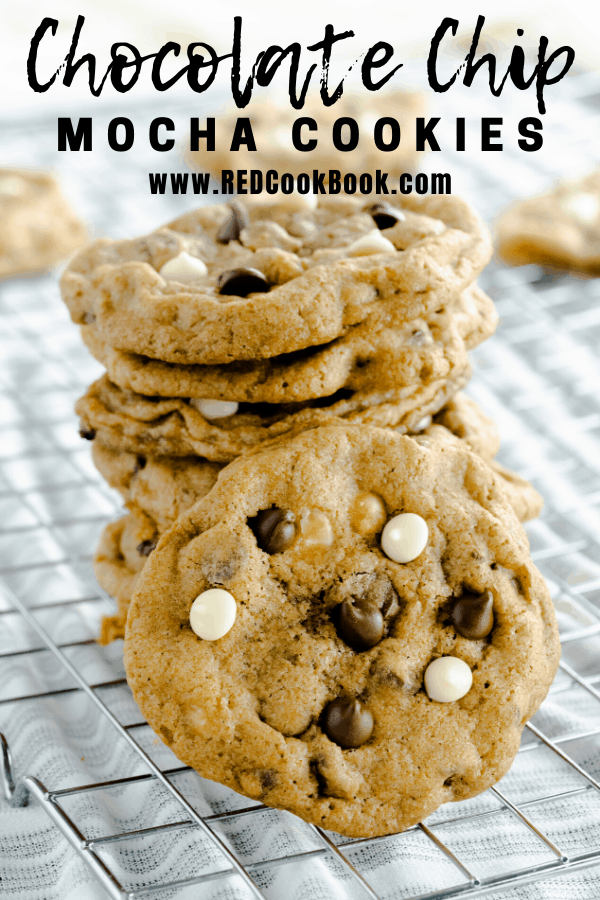 These white chocolate chip mocha cookies are rich and flavorful with a mixture of coffee, white chocolate, and semi-sweet chocolate chips. These cookies have crisp edges and a chewy center.   #mocha #coffee #chocolatechip #cookies #dessert #easydessert #cookierecipes #whitechocolate #semisweetchocolate #chewycookies