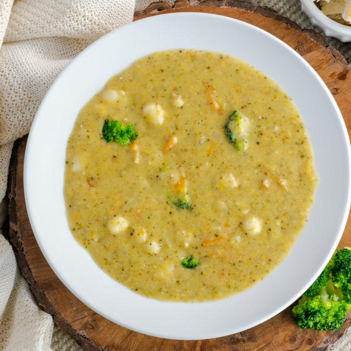 Broccoli Cheddar and Gnocchi Soup