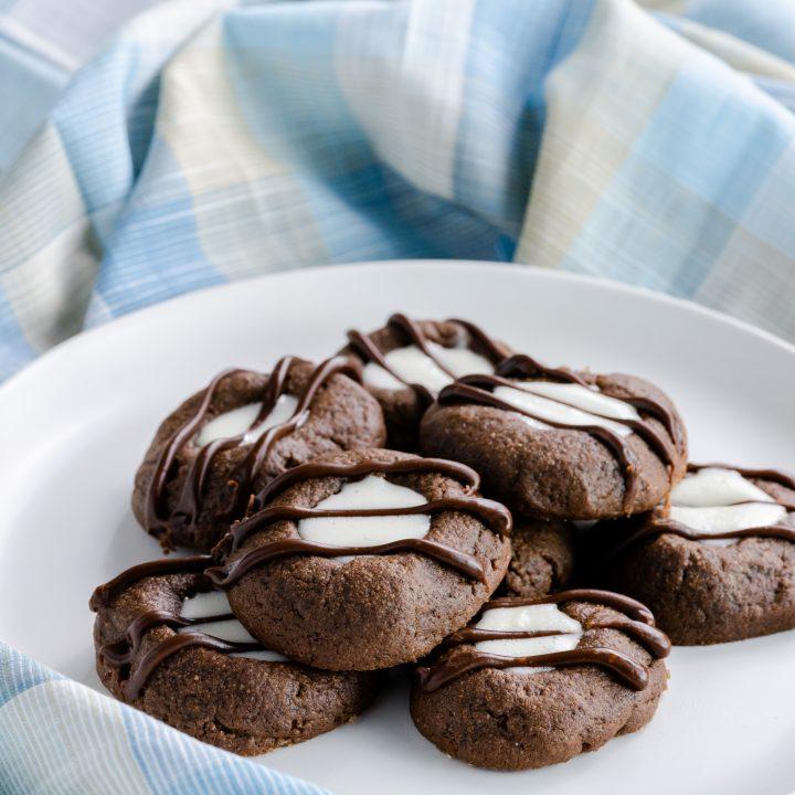 Marshmallow Creme Chocolate Thumbprint Cookies