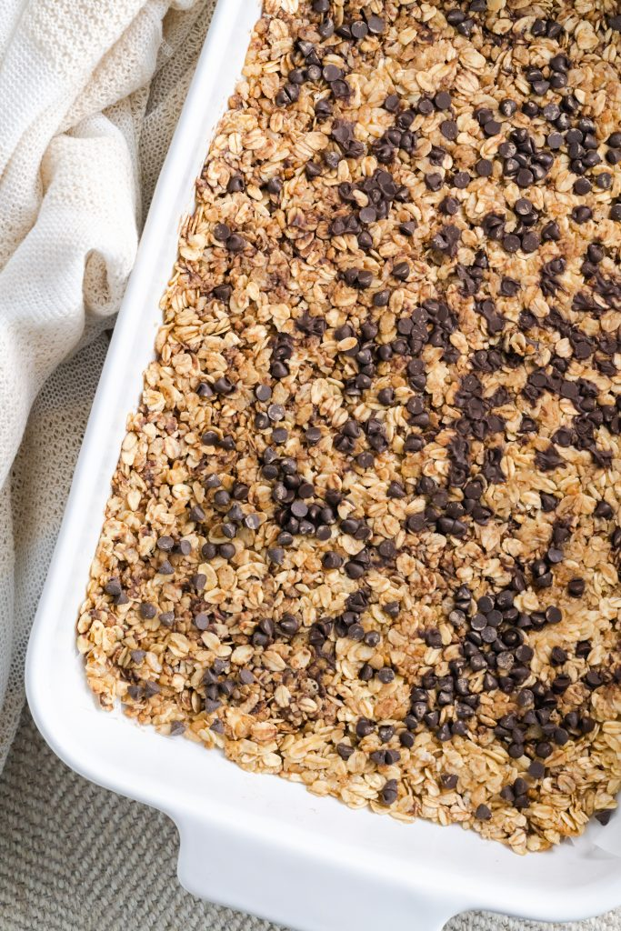 Homemade granola bars made in a matter of minutes with old-fashioned oats, puffed rice, and brown sugar.