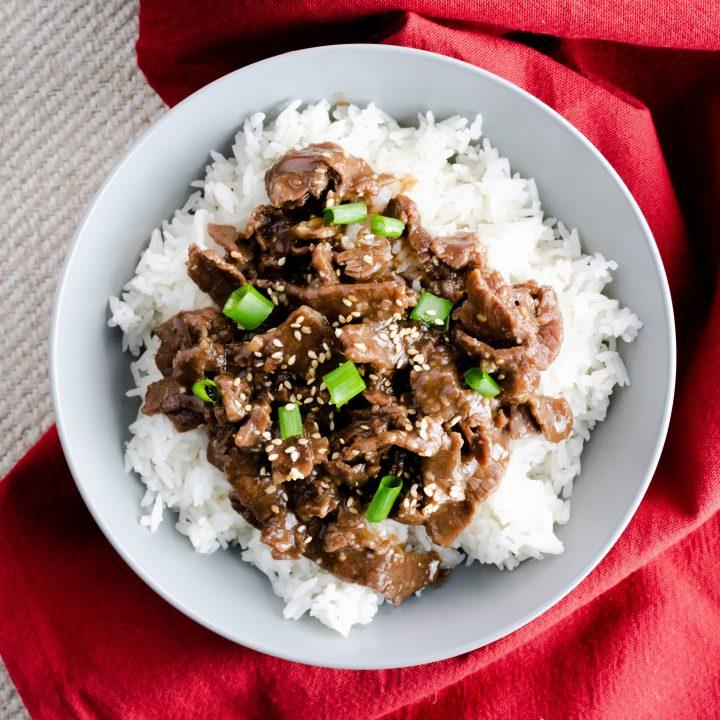 Instant Pot Garlic Sesame Beef & Rice