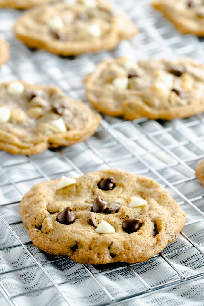 mocha cookies with semi-sweet and white chocolate chips on cooling rack