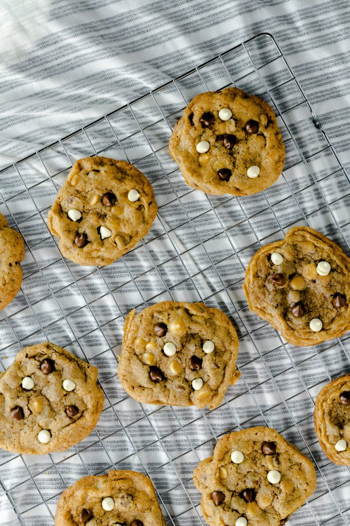 Cookies made with coffee and toped with chocolate chips.