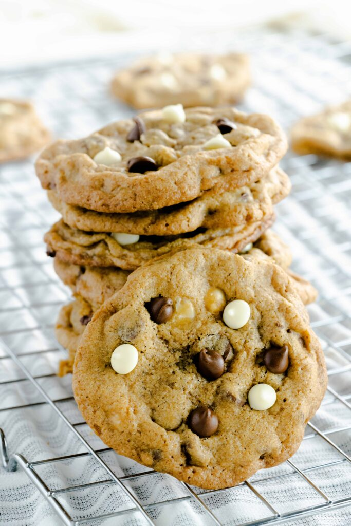 mocha cookies with semi-sweet and white chocolate chips