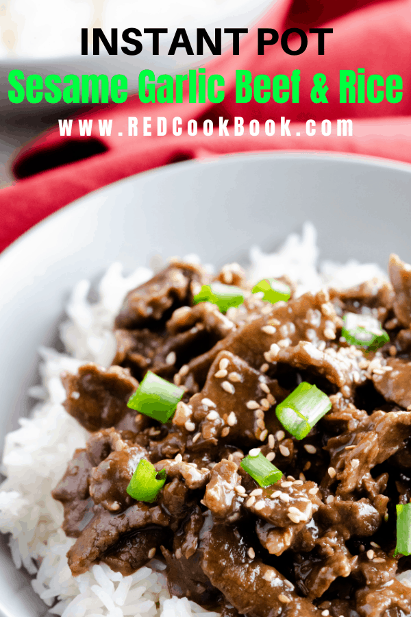 Instant Pot Garlic Sesame & Beef made with jasmine rice pot in pot.  Sweet and savory flavors in this Asian dish make a delicious and filling meal.   #instantpotbeef #sesamebeef #garlicbeef #pressurecooker #instantpotmeals #familymeal #meals #easydinner #quickdinners #sweetandsavory