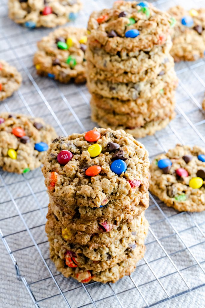 two stacks of monster cookies