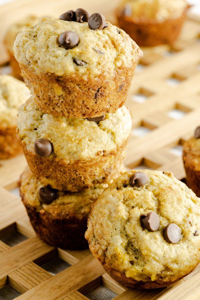 stacked chocolate chip banana muffins