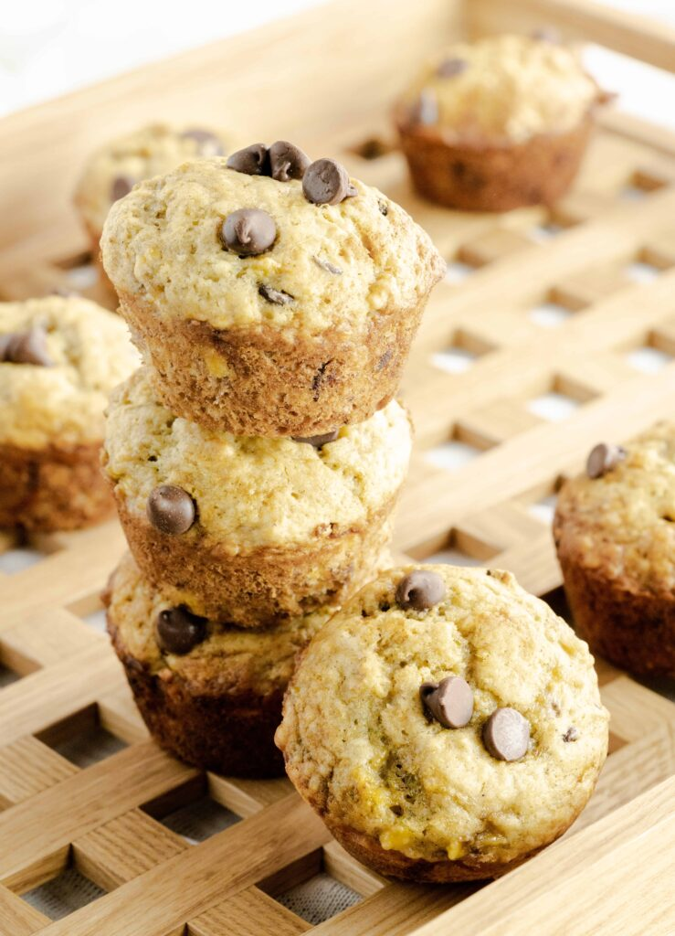 Chocolate Chip Muffins made with bananas on a serving tray.