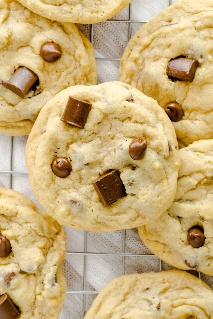Stacked soft batch chocolate chip cookies.