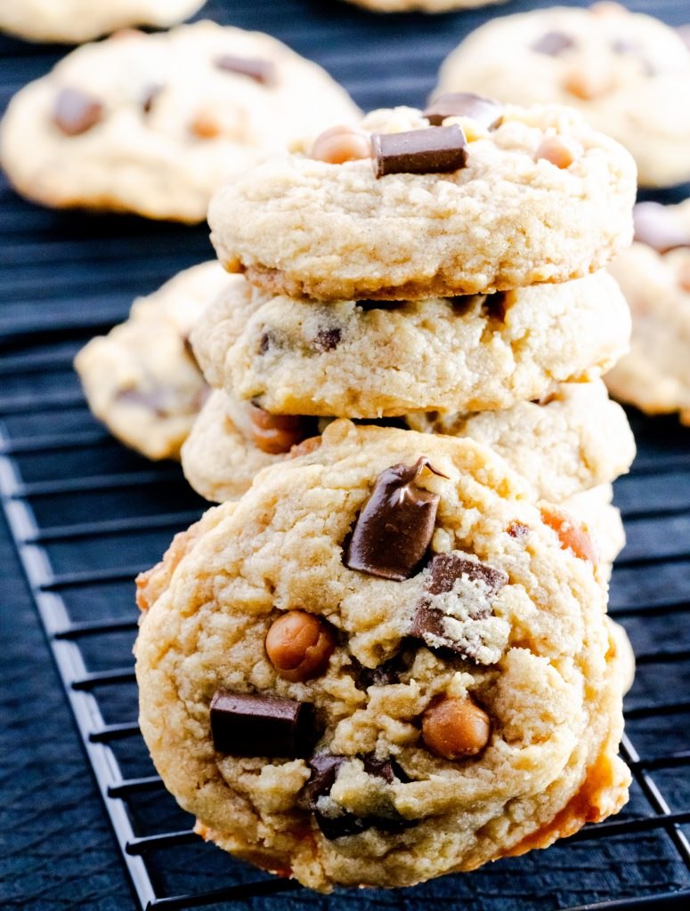 stacked brown butter chocolate chip caramel cookies