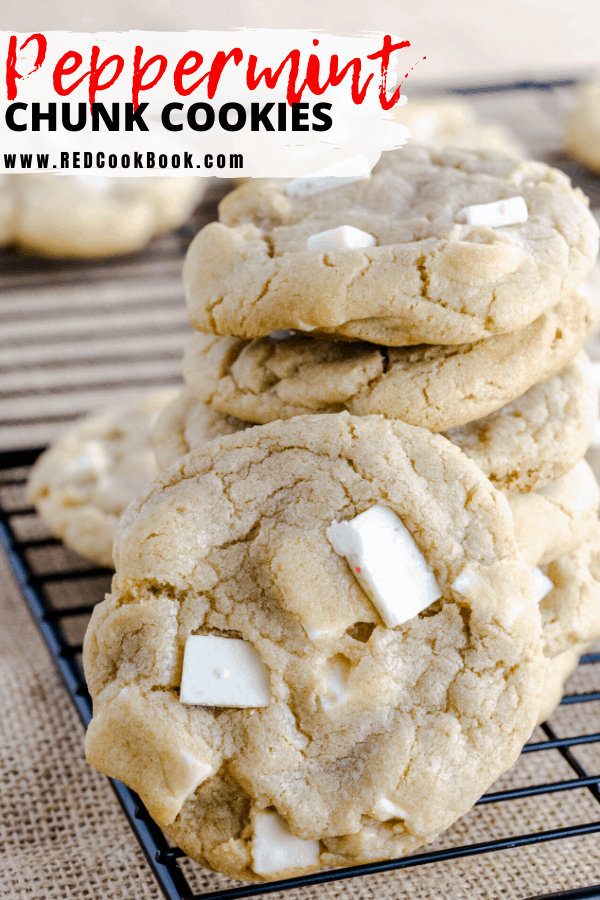 These peppermint chunk cookies are chewy on the inside, crispy on the outside and are made with peppermint chunks.  Perfect for Thanksgiving and Christmas. #christmascookies #peppermint #christmasflavors #cookierecipes #cookies #chunks #sugarcookies #holidaytreats #holidaydesserts #desserts