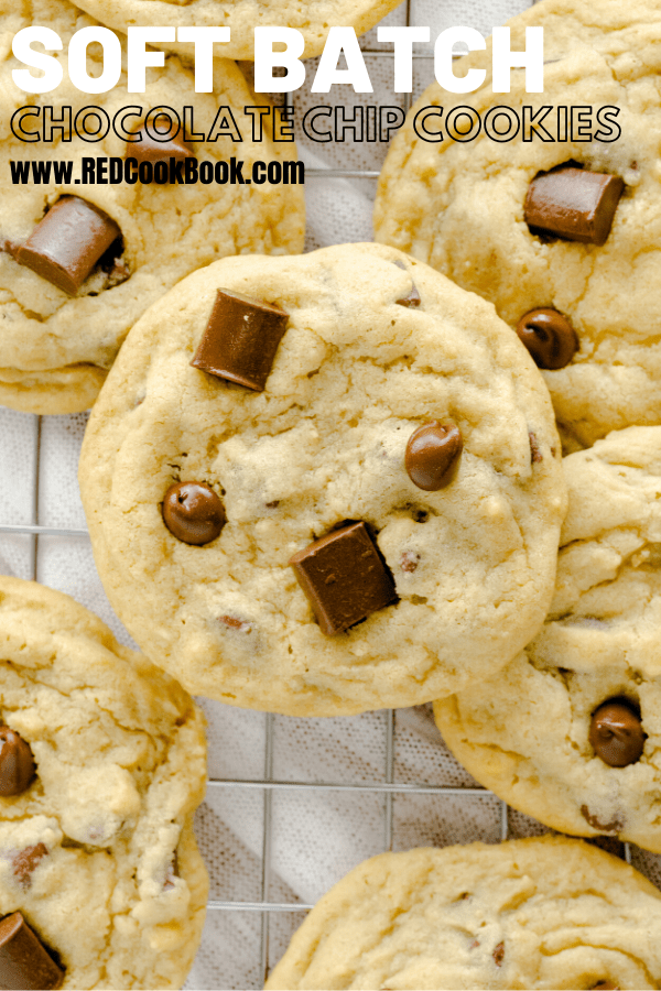 Incredibly delicious soft batch chocolate chip cookies.  These cookies are rich in a buttery vanilla flavor and are made with both chocolate chips and chunks. #chocolate #cookies #softbatch #homemade #cookierecipes #chocolatechipcookies #desserts #chocolatechunk