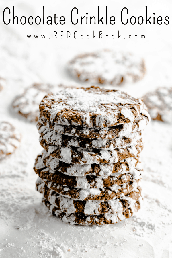 These Chocolate Crinkle Cookies have a soft and fudgy center and have crisp edges.  They're a great addition to any Christmas cookie platter.  #crinklecookies #cookies #cookieplatter #cookieexchange #chocolate #cookierecipes #easyrecipes #fudgy #holidaycookies #cookieseason