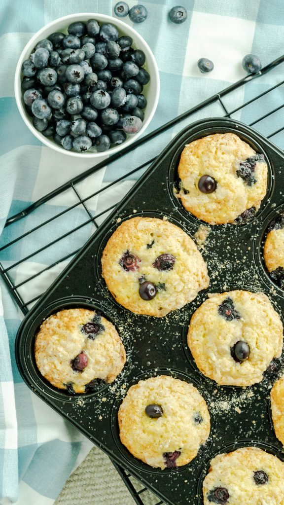 blueberry muffins made with fresh blueberries
