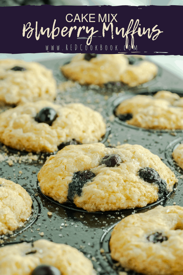 Light and fluffy homemade blueberry muffins made using a boxed white cake mix and other pantry ingredients. These muffins can be made with either fresh or frozen blueberries.  #cakemix #pantrystaples #pantryrecipes  #easyrecipes #muffins #blueberries #freshberries #frozenblueberries #cake #muffinrecipes #easybreakfast #breakfast