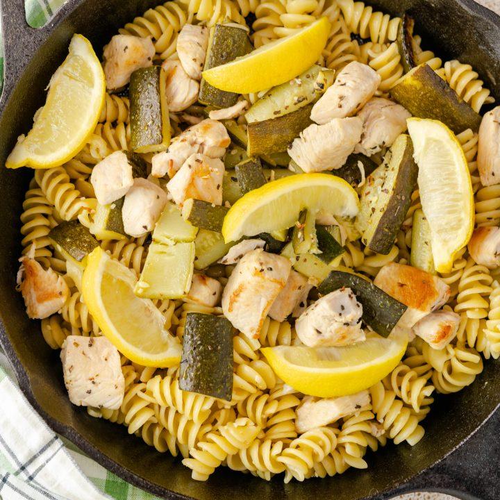 Lemon Chicken Zucchini Pasta Skillet