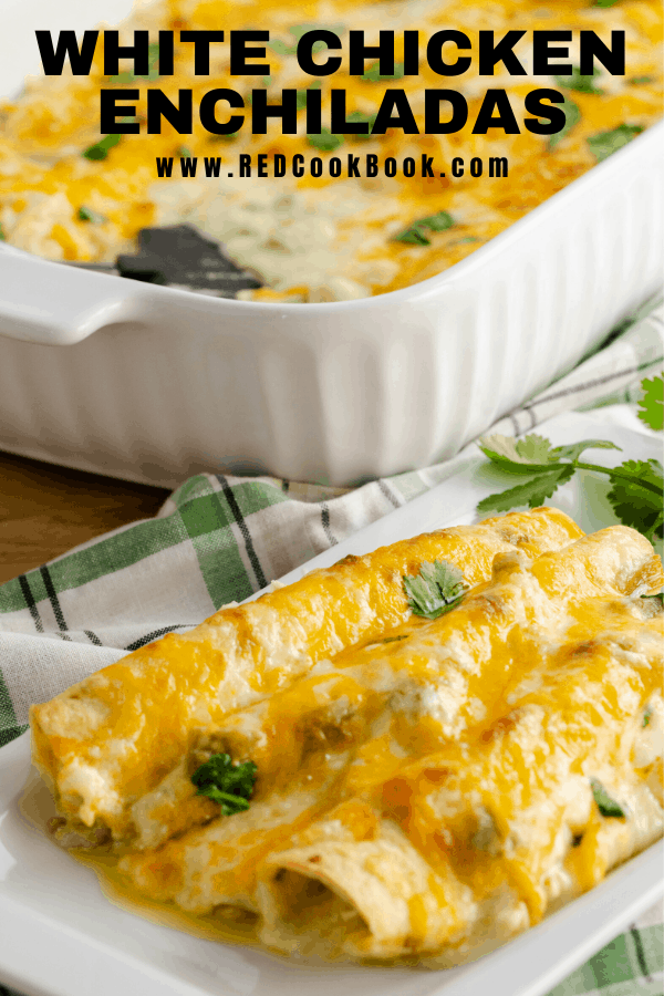 White Chicken Enchiladas made with a creamy white sauce, green chilies, and shredded chicken. Monterey Jack and cheddar cheese smother flour tortillas to create a cheesy and delicious dish.  #montereyjack #cheddar #cheese #cilantro #whitesauce #sourcream #chicken #dinner #chickendinner #easyrecipes #recipe #familyfriendly #kidfriendly #cheesy #tortillas #enchiladas