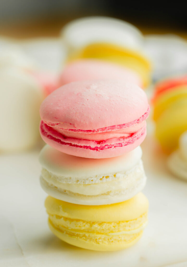 Close up of French Macarons.