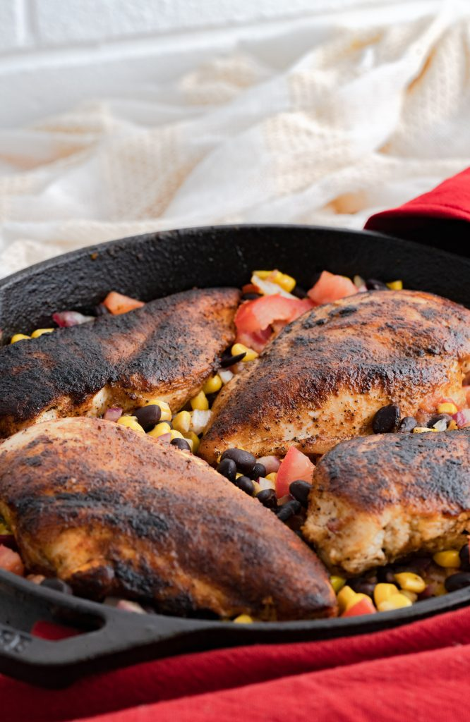 skillet of chicken and bean salsa