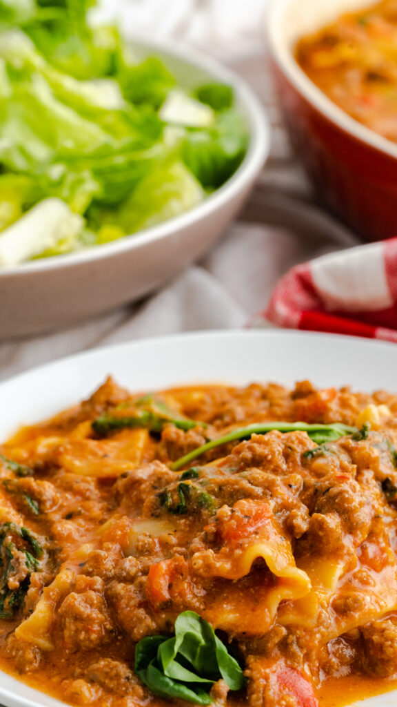 instant pot dump and start lazy lasagna and spinach plate