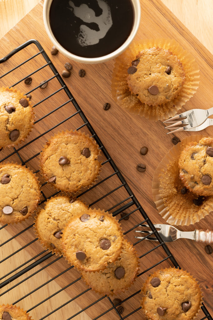 Cooling rack with cappuccino muffins.
