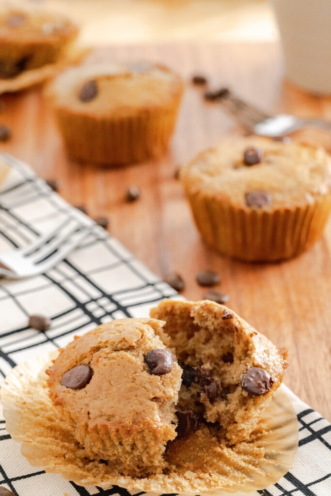 Cappuccino muffin with chocolate chips.