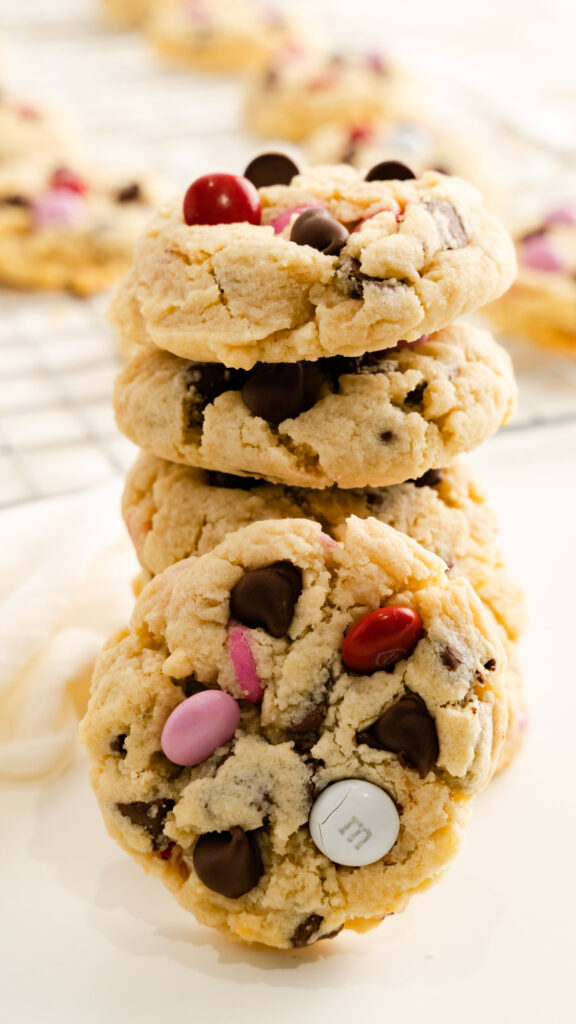 stacked valentine's day cookies