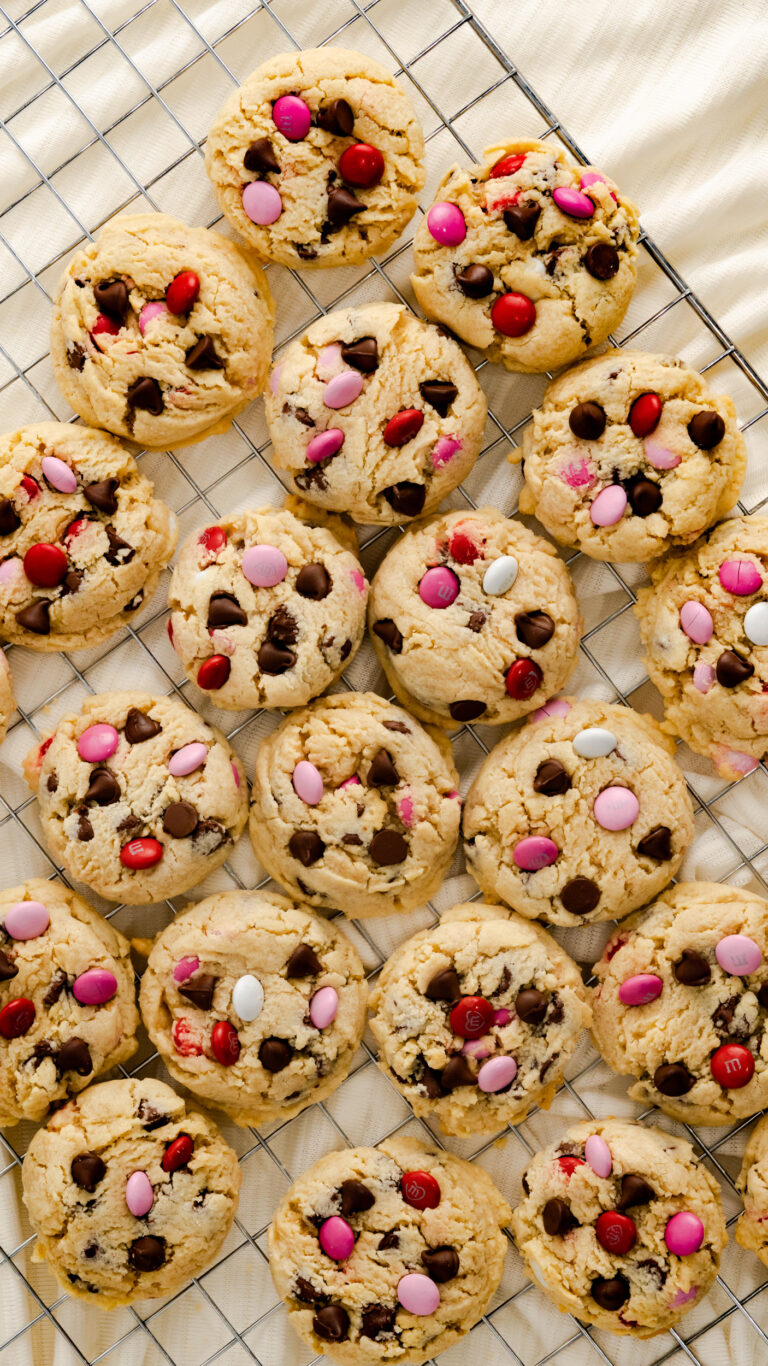 M&M Cookies on wire cooling rack