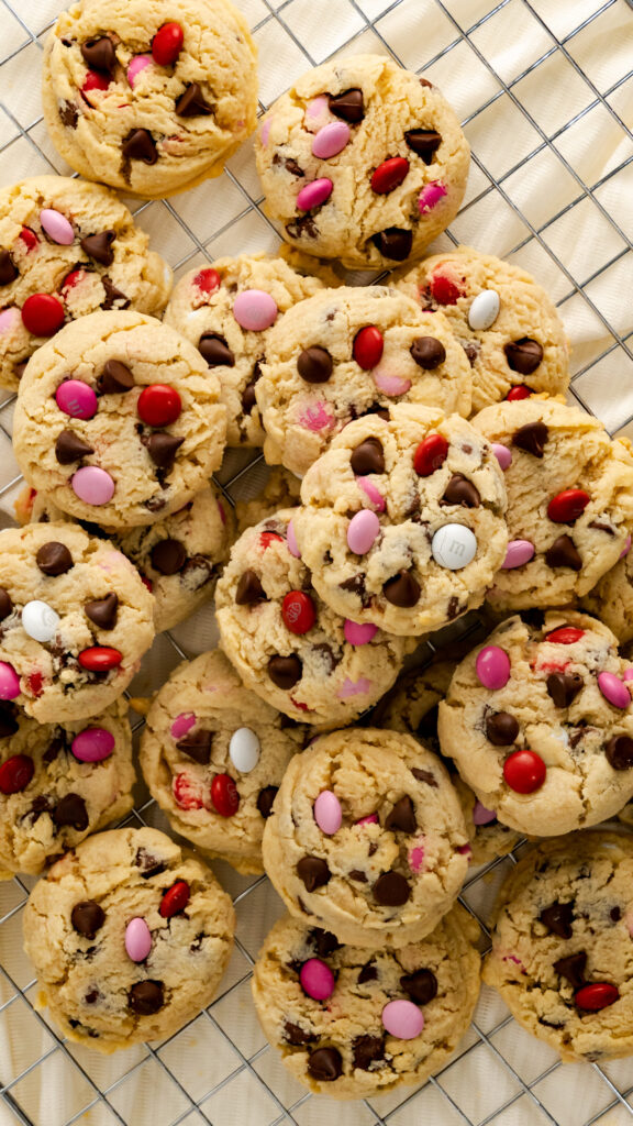 Valentine's Day Cookies with chocolate chips and M&M's.